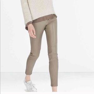 Zara Basic leather like pants sz S